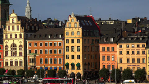 View on Gamla Stan in Stockholm. Old city. Sweden Footage