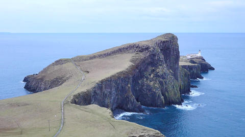 Beautiful Neist Point, thin spit of land. West coast of the Isle of Skye in Scot 影片素材