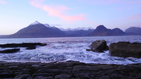 Evening in Elgol bay on west coast of the Isle of Skye in Scotland during an win Footage