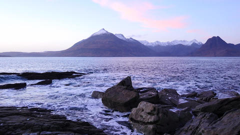 Evening in Elgol bay on west coast of the Isle of Skye in Scotland during an win Live Action