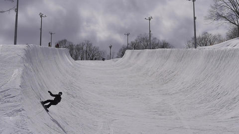 Snowboard half pipe Footage