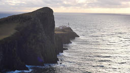 Beautiful Neist Point, thin spit of land. West coast of the Isle of Skye in Scot Live Action
