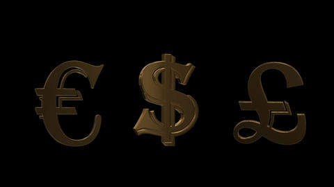 Golden world currencies signs Footage