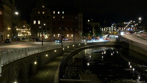 Stockholm. Old town. Architecture, old houses, streets and neighborhoods. Night, Live Action