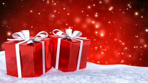 Christmas gifts in snow on red bokeh background. Seamless loop. 3D render Animation