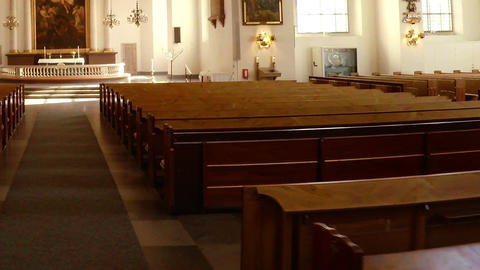 Interiors of church. Stockholm. Sweden Stock Video Footage