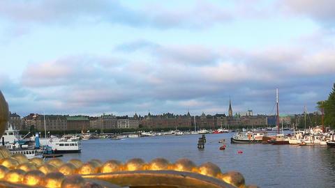Bridge with crown to Skeppsholmen island, Stockholm, Sweden Live Action