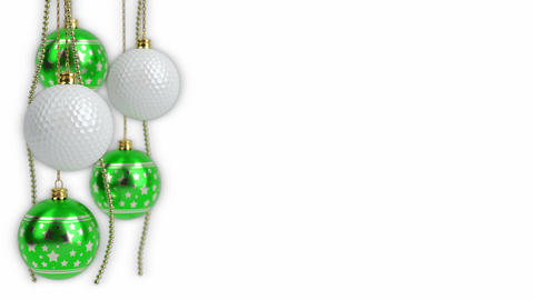 christmas balls and golf balls theme. 3D render. seamless loop Animation