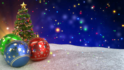 colorful christmas balls in snow on bokeh background.... Stock Video Footage