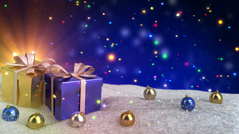 Christmas gifts in snow on blue bokeh background. Seamless loop. 3D render Animation