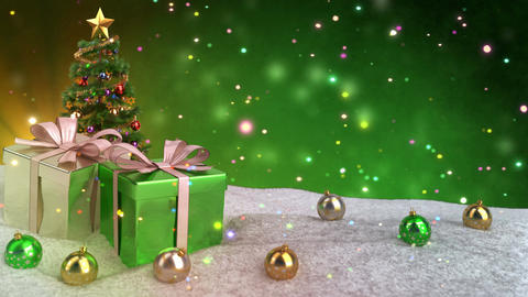 Christmas gifts in snow on green bokeh background. Seamless loop. 3D render Animation