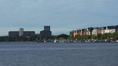 Embankment and pier in the center of Stockholm. Sweden Footage