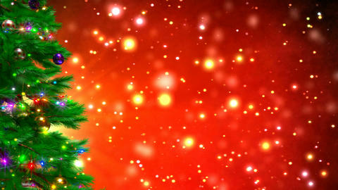 Christmas tree on red bokeh background. 3D render Animation