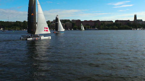 Contest yachts and sailboats in Stockholm. Sweden Footage
