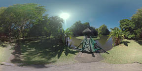 360 VR Scene of green park with pond and gazebo in Mauritius Archivo