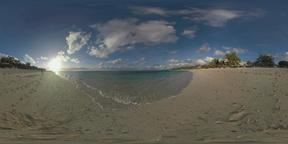 360 VR Mauritius scene with beach, blue ocean and resort area Archivo