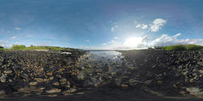 360 VR Rocks and green bushes on the ocean coast of Mauritius VR 360° Video