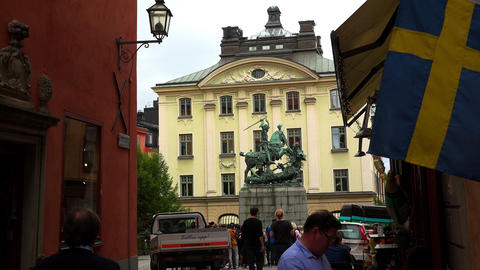 The statue of Saint George and the Dragon in Stockholm. Old city. Sweden. 4K Footage