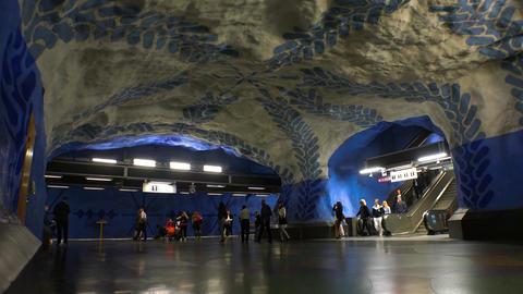 T-Centralen. Metro station. Art in the subway. Stockholm. Sweden. 4K Footage