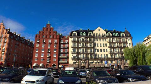 Stockholm. Old town. Architecture, old houses, streets and neighborhoods. 4K Live Action