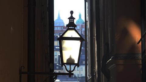 The old street lamp in Stockholm. Sweden. 4K Footage