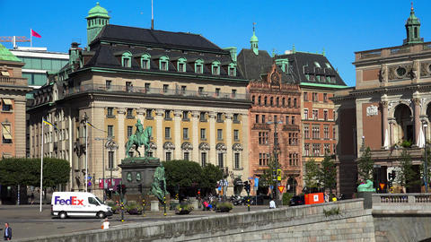 Equestrian statue of King Gustav II Adolf against the Royal Swedish Opera. Stock Footage