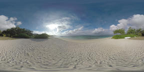 360 VR Coast of Mauritius with sandy beach and greenery Archivo