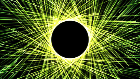 Circle Forming Particle Beams Animation - Green Yellow Animation
