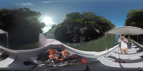 360 VR Family of tourists sailing to see a waterfall in Mauritius VR 360° Video