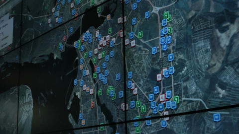 Closeup Screen with Glonass in Ministry of Emergency of Russia Footage