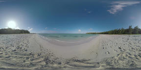 360 VR Mauritius landscape with blue ocean, beach and tree on the coast Archivo