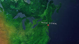 New York - United States zoom in from space Animation