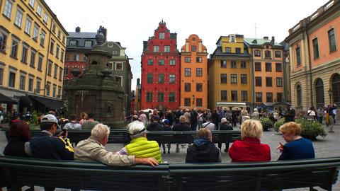 Stortorget Public Square in Stockholm. Gamla stan. Sweden. 4K GIF