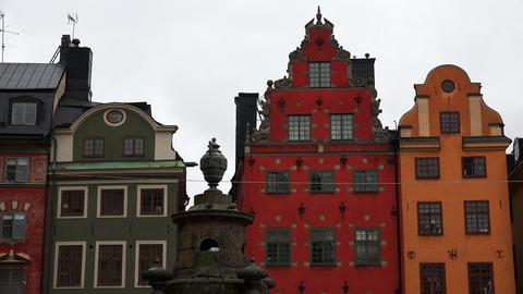 Stortorget Public Square in Stockholm. Gamla stan. Sweden. 4K Footage