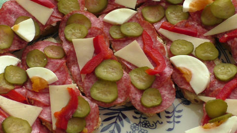 Small snacks canape with salami, cheese and pickle Footage