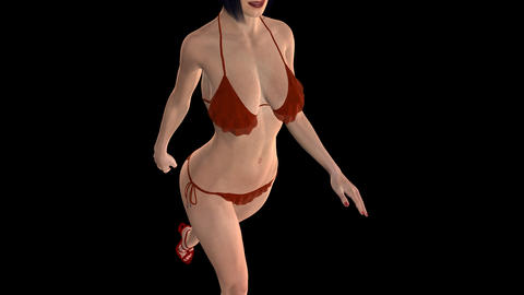 Lady In Red Bikini - Carmen - Walk Loop - Close Angle - Alpha Channel Animation