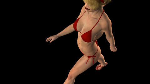 Lady In Red Bikini - Scarlet - Walk Loop - Top Angle - Alpha Channel Animation