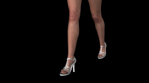 Lady In White Shoes - Walk Loop - Front Angle - Alpha Channel CG動画素材