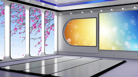 Entertainment TV Studio Set 56-Virtual Background Loop ライブ動画