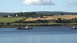 Great Britain Scotland Highland Invergordon agriculture fields and water Footage