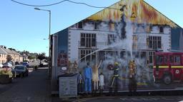 Great Britain Scotland Highland Invergordon painted burning house ビデオ