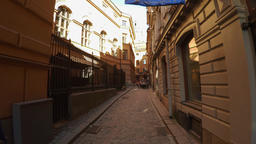 Ancient narrow street in central Stockholm. Old town. 4K GIF