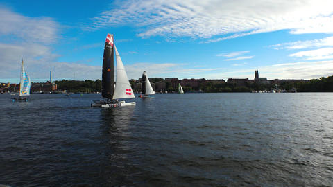 Contest yachts and sailboats in Stockholm. Sweden. 4K Footage