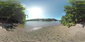 360 VR River with yachts and its bank in Mauritius VR 360° Video