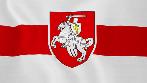 1080p Loopable: Historical Red-White-Red Flag of Belarus With 1991-1995 Footage