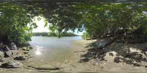360 VR Scene of river with yachts and family resting on the bank, Mauritius