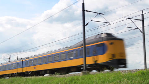 Intercity train of the Dutch Railways (NS) passing Footage