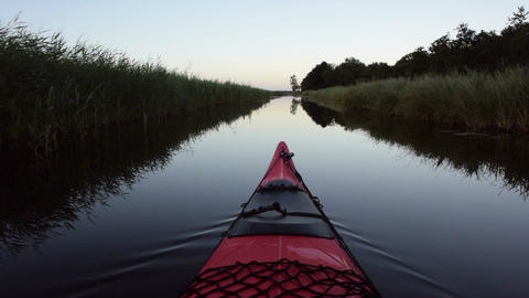 Kayaking on a canal in nature Footage