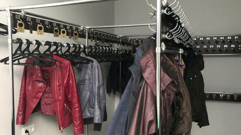 Public wardrobe, clothes hangers Footage