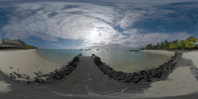 360 VR Mauritius coast with view to beach and yachts in the ocean Archivo